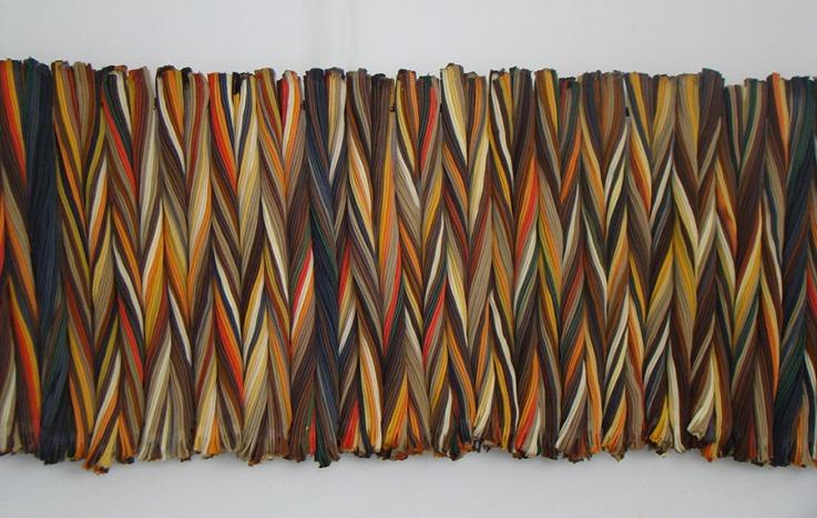 Baranda 2014 Cierres ensamblados con nylon, tubo de aluminio 34 x 194 cm (13.4 x 76.4 in)