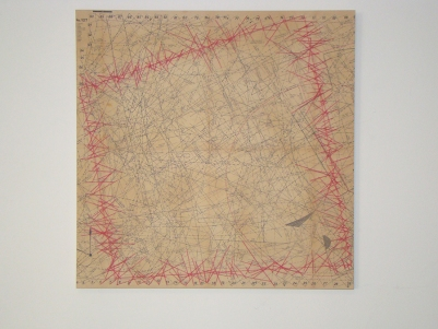 Cuadrado rojo 2015 Papel, viesoflix, nylon y algodón montado sobre entamborado de MDF y madera de pino 58 x 58 cm (22.8 x 22.8 in)