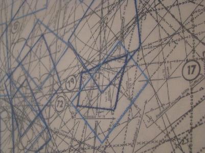 Cuadrados azules 2015 Papel, viesoflix, nylon y algodón montado sobre entamborado de MDF y madera de pino 50 x 66 cm (19.7 x 26 in)