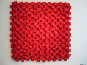 Deditos rojos 2013 Cinta de algodón ensamblada con balines de nylon 132 x 132 x 12 cm (52 x 52 x 4.7 in)