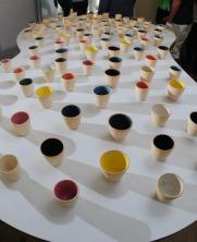 Vasos de Los Palos Grandes 2011 Arcilla torneada y esmaltada (96 piezas) 8 x 8 Ø cm (3.1 x 3.1 Ø in) c/u